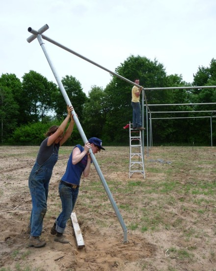 erecting the shade structure